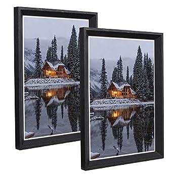 Metrekey 11x14 Picture Frame Woodgrain Beveled Edge 14x11 Photo Frames 2 Pack Wall Mounting Decor Plexiglass Cover Black
