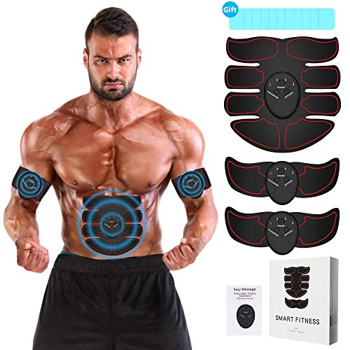 ABS Muscle Stimulator - EMS Abdominal Muscle Toner Trainer with 12PCS Abs Gel Pads, Abdominal Belt, Arms/Legs Belts for Losing Weight & Building Muscle - Portable Abs Muscle Training Belt for Waist, Thighs, Calves