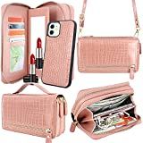 Harryshell Compatible with iPhone 12 / iPhone 12 Pro Case Wallet Multi Zipper Detachable Magnetic Cover Clutch Purse Bag with Card Slots Mirror Crossbody Chain Wrist Strap (Crocodile Skin Rose Gold)