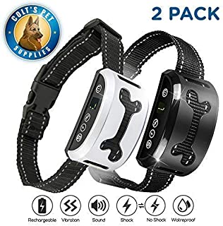 Bark Collar 2 Pack [Upgraded] | Anti-Barking Collar | Smart Chip | Beeps/Vibration/Shock Mode | for Small Medium and Large Dogs All Breeds Over 6 Lbs…