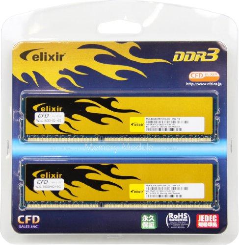 シー・エフ・デー販売 Elixir デスクトップ用メモリ DDR3 W3U1600HQ-4G DDR3 PC3-12800 CL9 4GB x 2枚セット ヒートシンク付