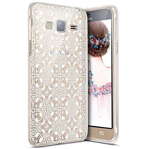 Surakey Samsung Galaxy J3/J3 2016 Cover, Silicone Morbido Trasparente HD Cristallo Chiaro Custodia con Disegno Creativo Protettiva Skin Ultra Sottile e Leggero Cover per Galaxy J3/J3 2016,Pizzo Bianco