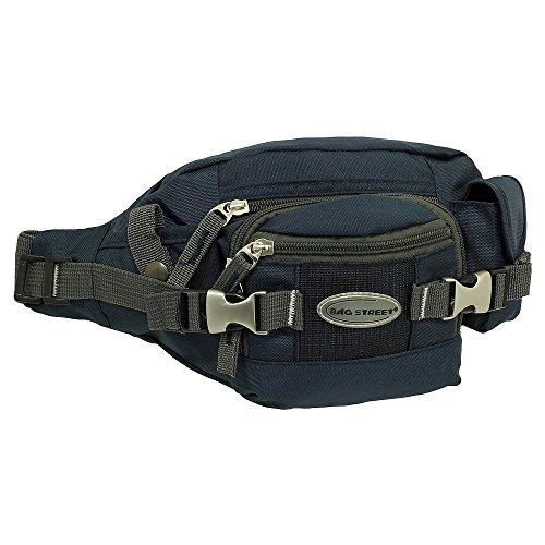 Geschenkset - exklusiver Ledershop24 Schlüsselanhänger + Herren & Damen Bag Gürteltasche Bauchtasche Hüfttasche Angeltasche Wimmerl Tasche ca. 25 cm Farbe blau