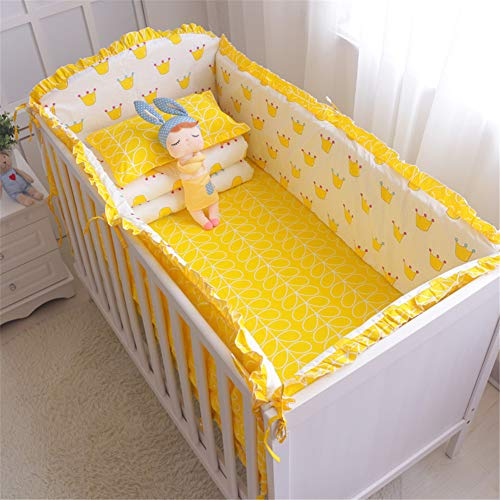 FairOnly Parure de lit pour Enfant 5 pièces en Coton avec Pare-Chocs Kleine Krone 4 Stück Bett + Bettwäsche