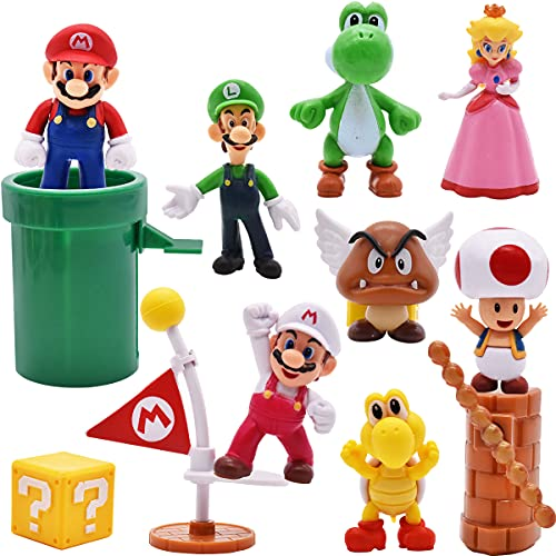 10 pcs/Set Super Mario Toys - Figuras de Mario y Luigi Figuras de acción de Yoshi y Mario Bros Figuras de Juguete de PVC de Mario