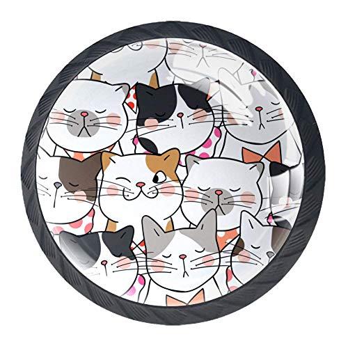 Haminaya Gatos de Dibujos Animados sin Costuras Manijas Pomos Puerta de Armario Muebles Pecho Tirador de Cajón Tirador Pomo-4pcs 3.5x2.8cm