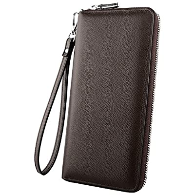 Luxspire RFID Blocking Wallet Long Handbag Large Capacity Genuine Leather Purse Clutches Bifold Multi Card Holder Organizer Phone Bag for Men Women, Coffee