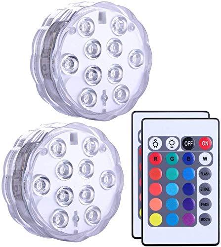 Goeswell Tauchbare LED-Lichter, 2 Stück, Fernbedienung, mehrfarbiger Farbwechsel, wasserdicht, batteriebetrieben, Stimmungslicht für Vasen, Blumen, Aquarium, Teich, Hochzeit, Party, Whirlpool