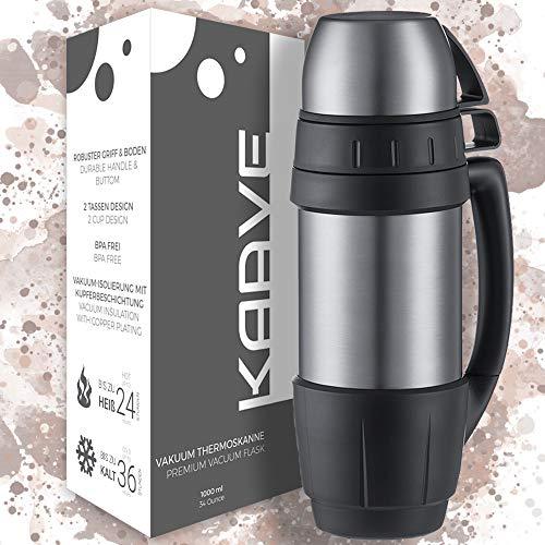 """Kaave Robuste Thermoskanne """"bigBoy"""" - 1 Liter - Isolierte, Auslaufsichere Premium Thermosflasche aus Edelstahl für heiße Getränke wie Kaffee & Tee - Inkl. 2 Zwei Tassen"""