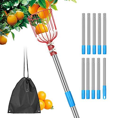 KOSIEJINN Recogedor de Frutas Palo 4M Herramienta Recolectora de Frutas Ajustable Recoger Frutas,con Canasta telescópica y Soporte de Esponja para Obtener Manzanas,Naranjas,Peras,Mangos etc