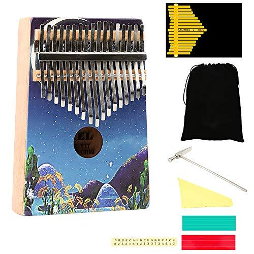 Kleur Schilderij Kalimba 17 Sleutels Duim Piano, Draagbare Vinger Piano met Tune Hammer en Studie Instructie, voor Kinderen Volwassen Beginners