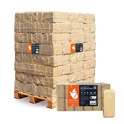 PALIGO Holzbriketts Ruf Nadelholz Kiefer Fichte Kamin Ofen Brenn Holz Heiz Brikett 10kg x 96 Gebinde 960kg / 1 Palette Heizfuxx
