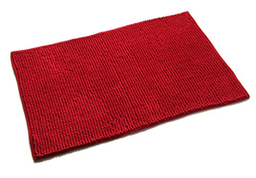 Quantum Interior Chenille Badematte 60x90 - moderner Microfaser Badvorleger in Trendfarben - schnell trocknend (Rot)