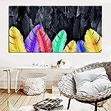 KWzEQ Pinturas murales de Gran tamaño, Carteles Coloridos con Estampado de Plumas, decoración del hogar de la Sala de Estar,Pintura sin Marco,30X60cm