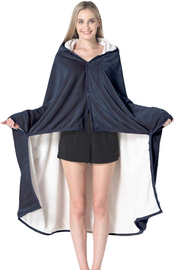 grigio 150 x 100 cm YINGXUE Poncho Wrap Coperta invernale mantello mantello mantello super morbido caldo indossabile coperta con cappuccio per uomo e donna