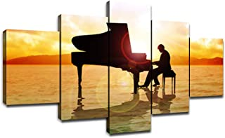 Painting Canvas Wall Art 5 Panel A Man Silhouette Playing Piano on Sea Picture Home Decor Bedroom Modern Artwork Sunset Poster Gift Prints Framed Gallery-Wrapped Ready to Hang(60''Wx32''H)