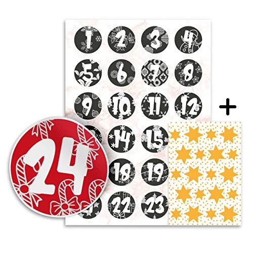 Adventskalender Zahlen Sticker - 24 Aufkleber 4 cm + Gratis 20 Sternsticker - zum Basteln und Dekorieren (Schwarz/Weiß)