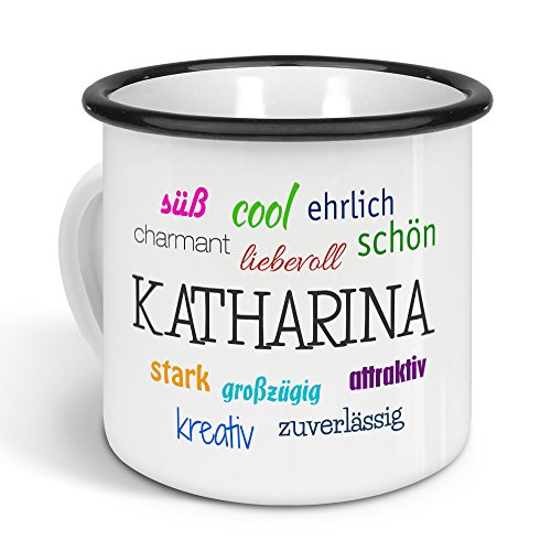 printplanet - Emaille-Tasse mit Namen Katharina - Metallbecher mit Design Positive Eigenschaften - Nostalgie-Becher, Camping-Tasse, Blechtasse, Farbe Schwarz, 300ml
