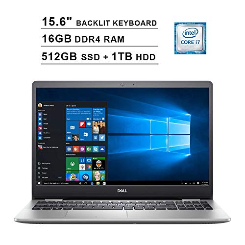 Dell Inspiron 5000 15.6 Inch FHD 1080P Touchscreen Laptop (Intel Core i7-1065G7 up to 3.9GHz, 16GB DDR4 RAM, 512GB SSD (Boot) + 1TB HDD, Intel UHD Graphics, Backlit KB, HDMI, WiFi, Bluetooth, Win10)