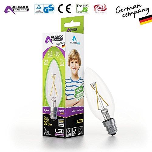 ARUANA LED GMBH INTERNATIONAL 0020 LED Kerze C35, E14, clear, 3W 220-240 V, 375 lm, 2800 K, Weiß, 1