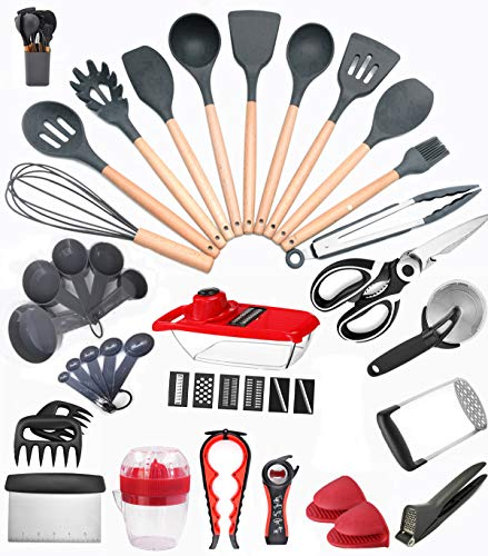 42 PCS Kitchen Utensil Sets Heat Resistant Silicone Cooking Utensil Sets with Holder Premium BPA Free Kitchen Utensils Dark Grey Wooden Handles Kitchen Gadgets Tools Sets for Non-stick Cookware