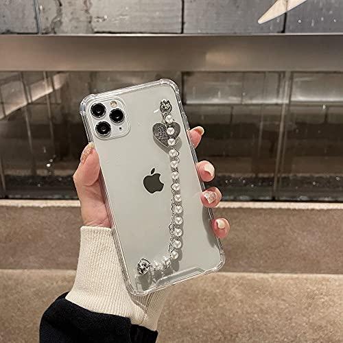 Funda para teléfono con Cadena de Perlas para iPhone 11 Pro MAX 12 Mini 7 8 6 s Plus X XR XS SE 2020 Pulsera de Amor con Cubierta Suave y Hermosa a la Moda, A, para iPhone 11 Pro