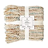 Motini Decorative Knitted Cozy Throw Blanket Farmhouse Warm Super Soft Throw Blanket with Tassels for Couch & Sofa 50'x60'