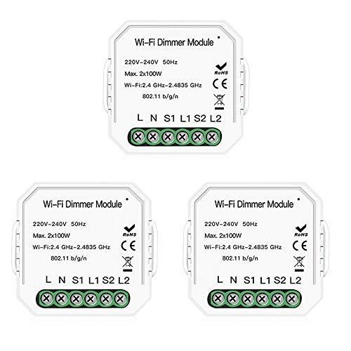 CLJ-LJ 3 Pack 2 Alturas 2 Smart Switch Luz Camino WiFi DIY atenuador Smart Module Vida/Tuya aplicación de Control Remoto Control de Pared Enchufe de zócalo