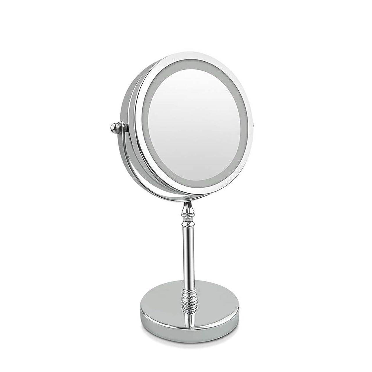 けがをする好意的迫害するGEABQJ 化粧鏡 デスクトップ HD お手入れが簡単 10倍の倍率 360°調整 スマートLEDフィルライト顕微鏡、 17x33cm (Color : Silver)