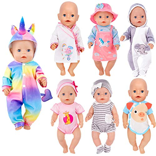 iBayda 7 Sets 14-16 inch Doll Clothes Accessories Include Dress,Romper,Outfit and Hat Doll Clothes Accessories for 43cm New Born Baby Dolls/15 inch Dolls
