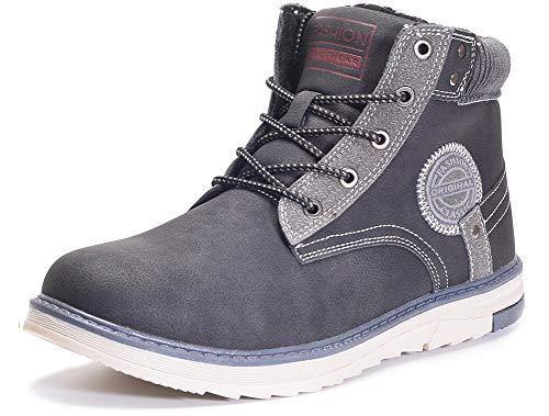 Gaatpot Uomo Neve Stivali Inverno Stivaletti da Escursionismo Scarpe da Trekking Caldo Cotone Scarpe Piatto Sportive Boots Nero 40EU