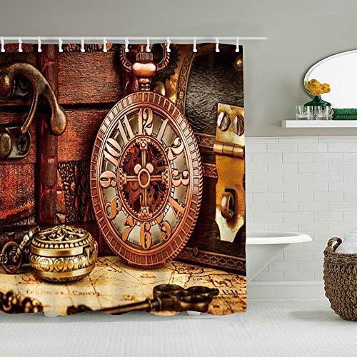 PbbrTK Cortina de baño Repelente al Agua,Estilo Antiguo Antiguo Reloj de Bolsillo Relojes de Cadena Cronómetro Horas Imagen Antigua,Cortinas de baño de poliéster con 12 Ganchos,tamaño 180 x 180cm