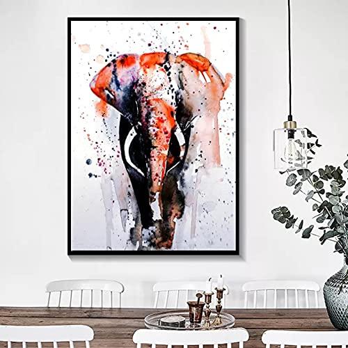 Pintura de la Lona Cuadros Decorativos Carteles e Impresiones de Animales de Acuarela nórdica Pintura de Lienzo de Elefante Abstracto Cuadros de Pared para la decoración del hogar de la Sala de Estar