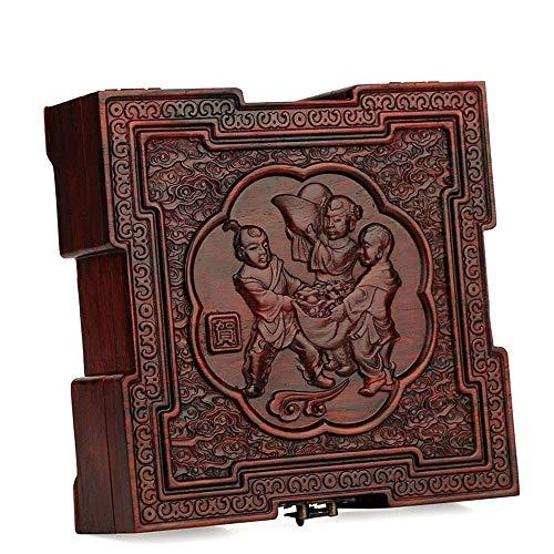 Cajas de joyería de, Caja de joyería, Madera roja Pendientes Retro Chino Anillo Collar Caja de Almacenamiento Caja de colección de Joyas
