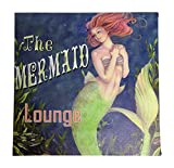 Mermaid Lounge Sign Canvas Wall Art with LED Light - 11.75 Inches Square