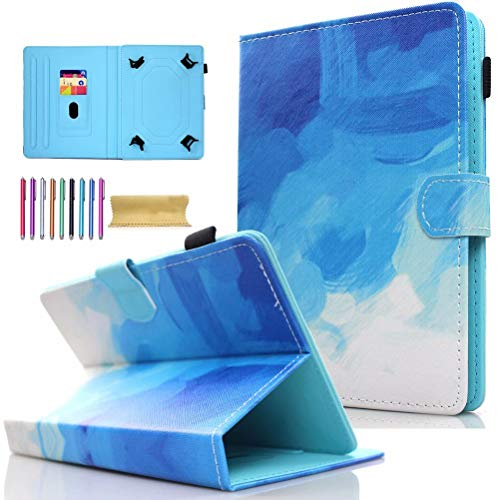 Universal 8.0' Tablet Case, AMOTIE Wallet Stand Cover w/Credit Card Slots for iPad Mini 1 2 3 4 5/ Galaxy Tab E 8.0/ Tab A 8.0/ Fire HD 8/ Lenovo/RCA and More 7.0-8.5 inch Tablet, Blue & White