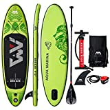 9' Inflatable Stand Up Paddle Board 4.72' Thick Aqua Marina Breeze SUP with Double Action Pump, Magic Backpack, Slide-in Center Fin, Sports III Paddle and Safety Leash