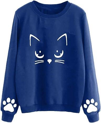 Luckycat Sudadera Mujer Gato Camiseta Blusa de Otoño e Invierno de Manga Larga con Cuello Redondo Sudaderas Mujer Invierno Tumblr y Originals en ...