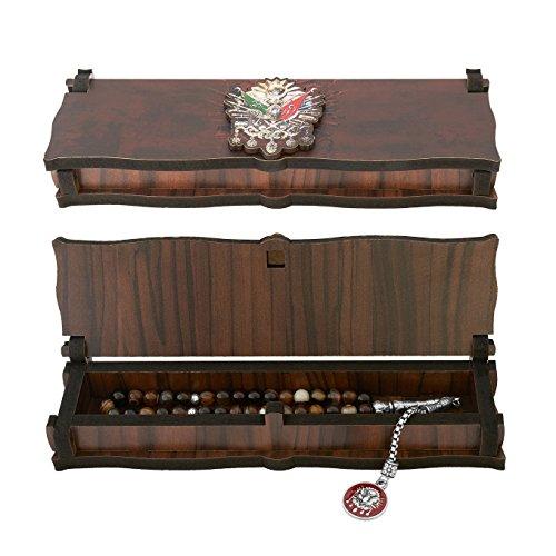 Gök-Türk Box Schatulle aus Holz Handgemacht & Tesbih Gebetskette 'Wappen Osmanisches Reich' Tugra Abdulhamid 33 Perlen, ColorName:ohne Gravur