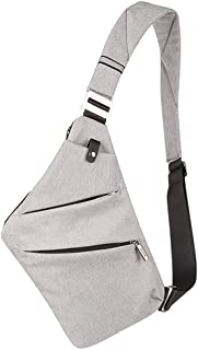 Cross-Body Sling Bag Lightweight Casual Anti Theft Travel Daypack Chest Shoulder Bag for Men (Grey)