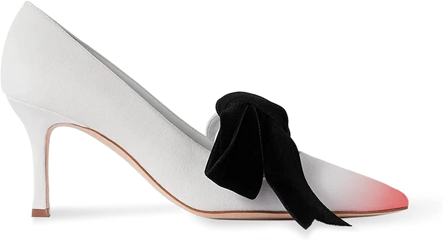 FOWTWomen's Big Super sale All items in the store period limited Black BowknotPumps Slip on Kitten He Thin High