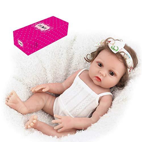 homese Reborn Baby Doll Silikon Ganzkörper 19 Zoll lebensechte niedliche Badepuppen für Kinder Kinder Kleinkinder Geburtstag Dusche Geschenke mit weißen Sommerkleid