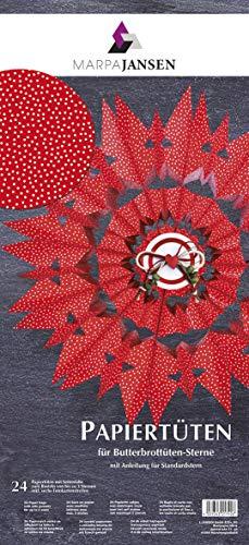 MarpaJansen Bastelset-Butterbrottüten, Papiertüten, rot mit weißen Pünktchen, 10 x 22 cm