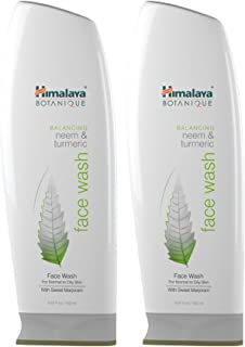 Himalaya Botanique Neem & Turmeric Natural Face Wash & Cleanser for Oily and Acne Prone Skin, 5.07 Oz/150 ml (2 Pack)