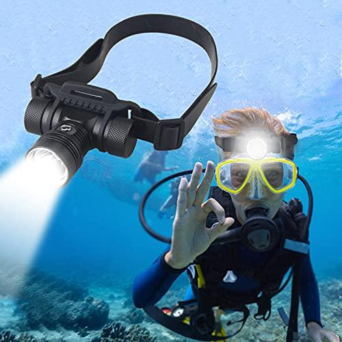 Xaeiow - Linterna frontal resistente al agua, LED, faro de buceo, USB superbrillante, con 3 modos de iluminación para buceo, pesca, camping