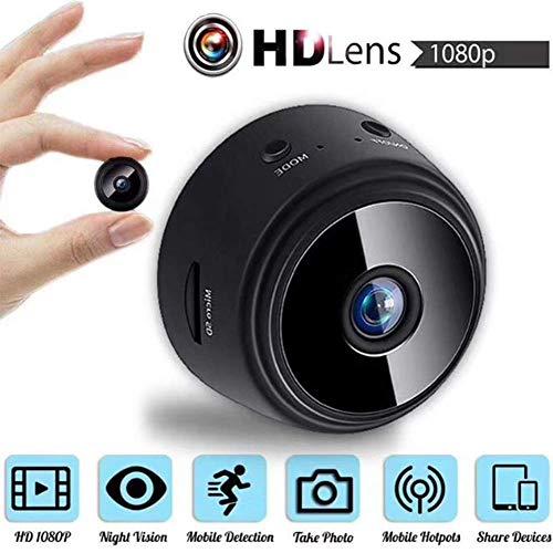 Cámara WiFi mini cámara oculta inalámbrica, 1080P Full HD cámara portátil con detección de movimiento y visión nocturna para interiores y exteriores, + tarjeta 32GSD DUZG