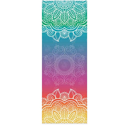 Yuan Ou Esterilla Yoga Fitness Yoga Mat Microfibra Patrón de impresión Portátil Pilates Yoga Toalla Suave Antideslizante Interior Exterior Deportes Mat Gimnasio Mat 17-1
