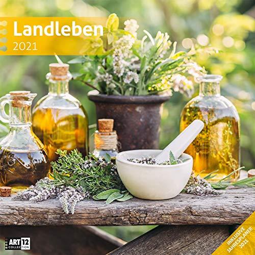 Landleben 2021, Wandkalender / Broschürenkalender im Hochformat (aufgeklappt 30x60 cm) - Geschenk-Kalender mit Monatskalendarium zum Eintragen