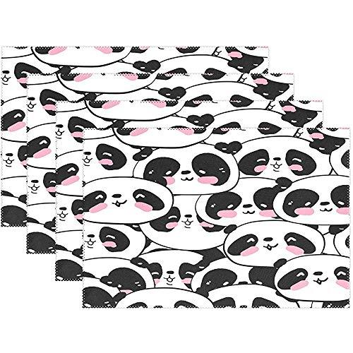 sunnee-shop placemat voor pasgeborenen Panda schattige set met 6 placemats met grappige dierenbloemen