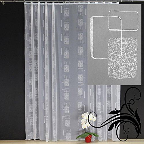 EASYHomefashion Hochwertige Fertiggardine - Voile Store mit Motiv Stickerei - Faltenband&Bleiband »NAGO« versch. Größen, 245 x 300 cm (HöhexBreite)